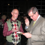 Mayor Karl Dean checks out Vendetta Stone after receiving the Nashy Award on March 17 for his support of film and television in Nashville.